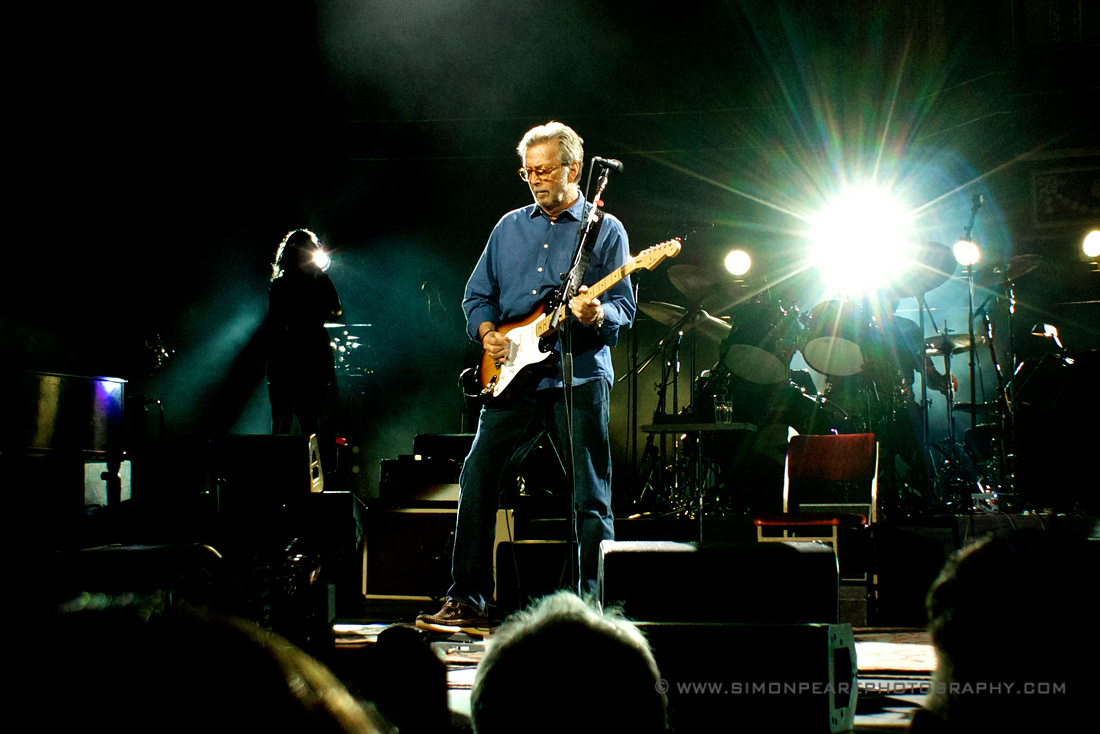 Fine Art Framed Photograph or Print of Eric Clapton Playing a Fender Stratocaster and Wah Wah Pedal Royal Albert Hall May 2015 Celebrating His 70th Birthday For Sale. Image Suitable for Wall Art and Framing