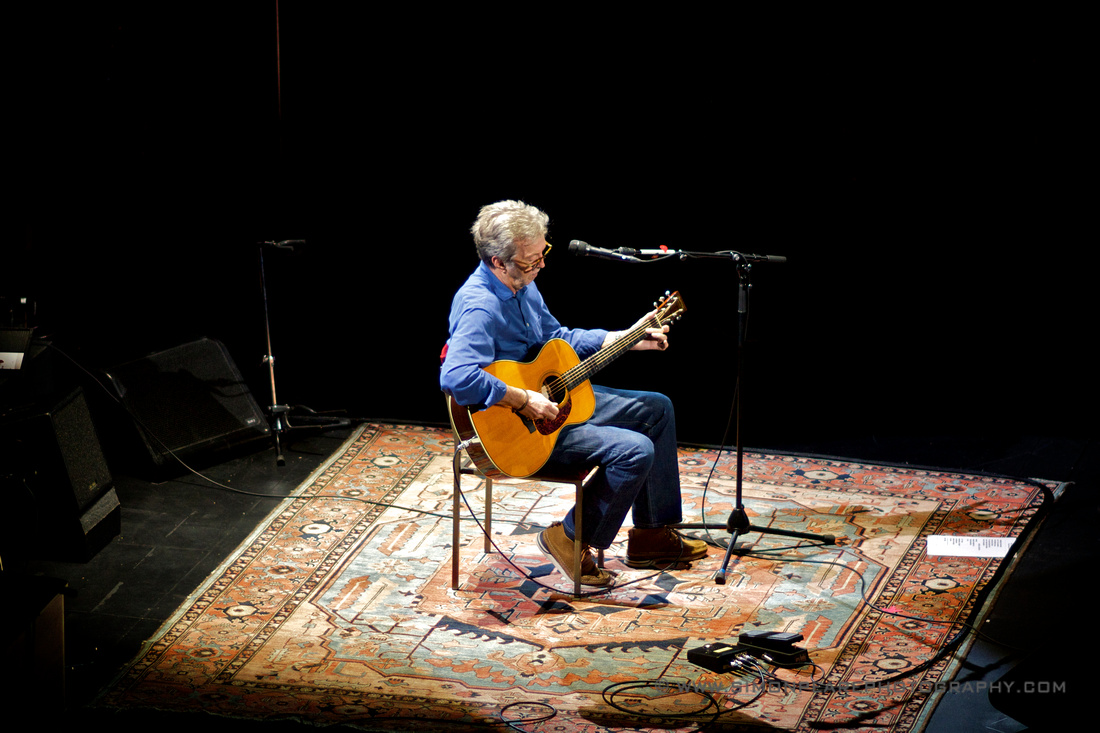 Fine Art Framed Photograph or Print of Eric Clapton Sitting Down Playing a Martin Steel String Acoustice Guitar at The Royal Albert Hall May 2015 Celebrating His 70th Birthday For Sale. Image Suitable for W