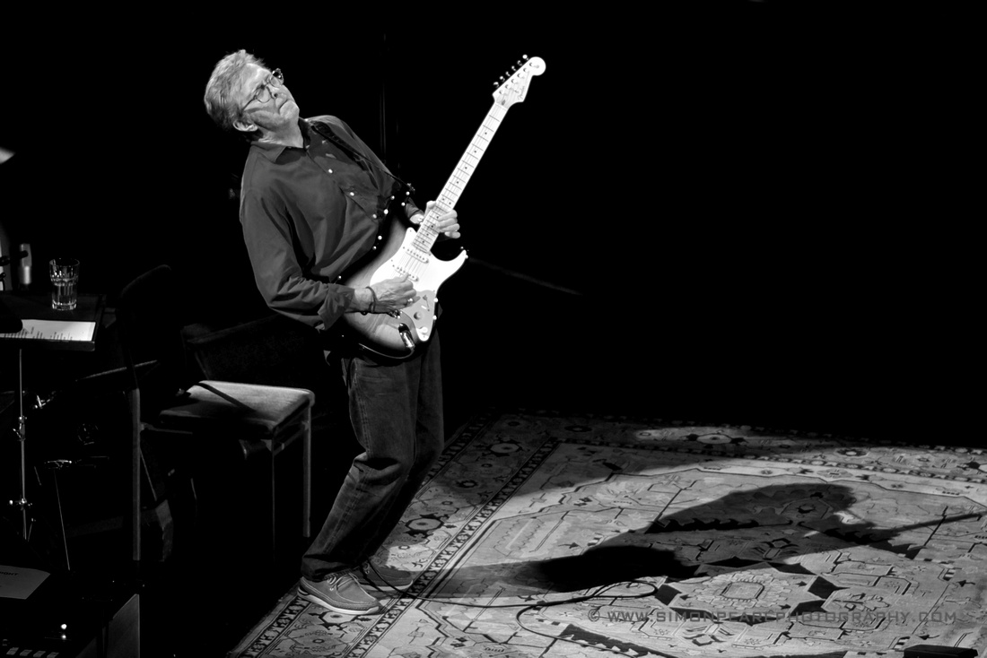 Black and White Fine Art Framed Photograph or Print  of Eric Clapton Playing a Fender Stratocaster Royal Albert Hall May 2015 Celebrating His 70th Birthday For Sale. Image Suitable for Wall Art and Framing.