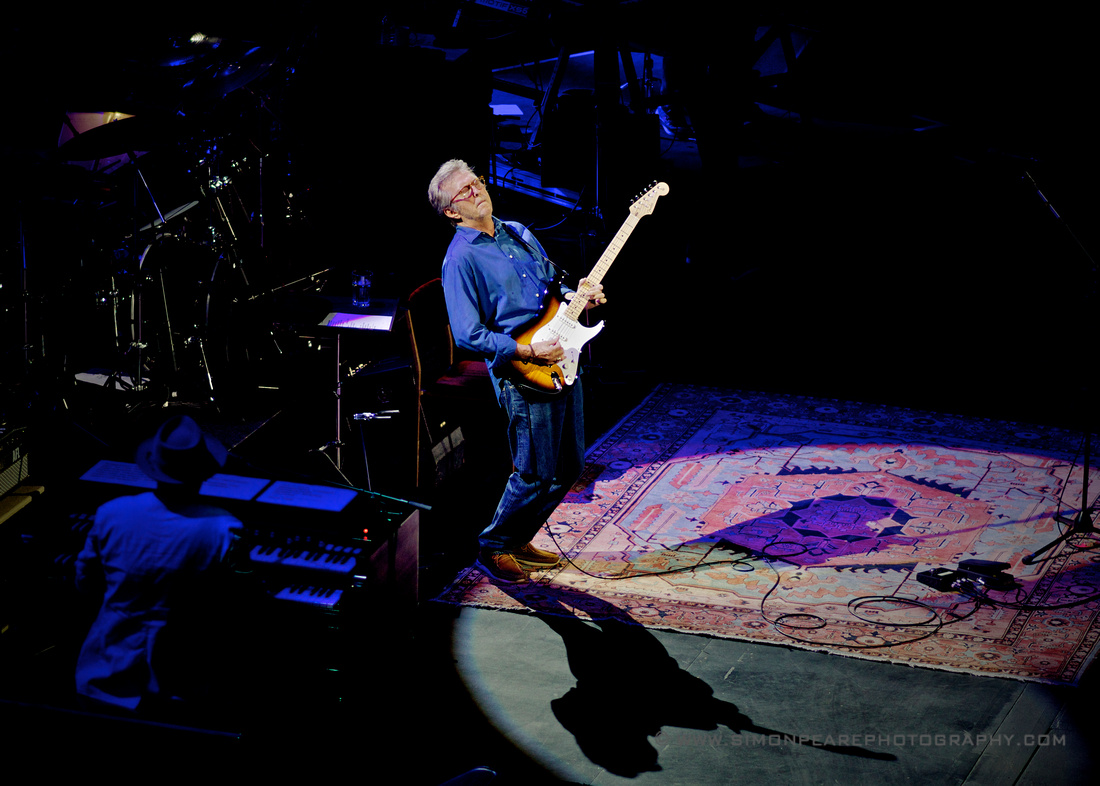 Fine Art Framed Photograph or Print of Eric Clapton Playing a Sunburst Fender Stratocaster at the Royal Albert Hall May 2015 Celebrating His 70th Birthday For Sale. Image Suitable for Wall Art and Framing.