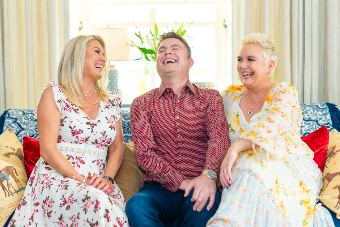 Michael English RSVP Country Photoshoot with his sisters Patrina and Olivia laughing