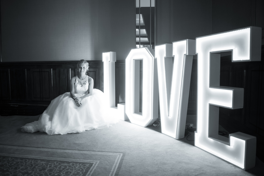 Wedding Photography Meath. Light Up Letters at Trim Castle Hotel