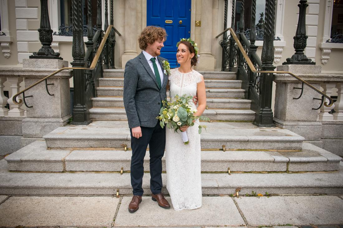 Bridal Couple Portrait Outside Dublin's Mansion House. Wedding Photography in Dublin City Centre