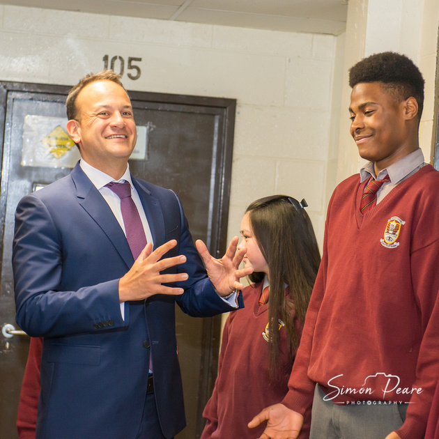 Taoiseach Leo Varadkar with a Student in Clonsilla Dublin 15. Press Photographer Simon Peare. Looking for an Event Photographer. To get in Touch email:info@simonpearephotography.com or ph/text/WhatsApp +353 86 8137668 Competitive Rates - No Obligation Quotation. www.simonpearephotography.com