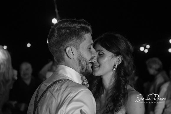 Vaida and Christian Wedding Photo by Dublin Wedding Photographer Simon Peare. Dancing on the beach
