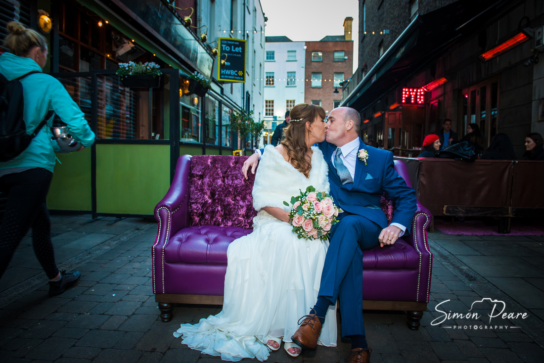 Wedding Photography Dublin City Centre. Relaxed Natural Style approach to Wedding Photography in Dublin. Elaine and Ivan borrowing a couch from Pygmalion in the Powerscourt Centre