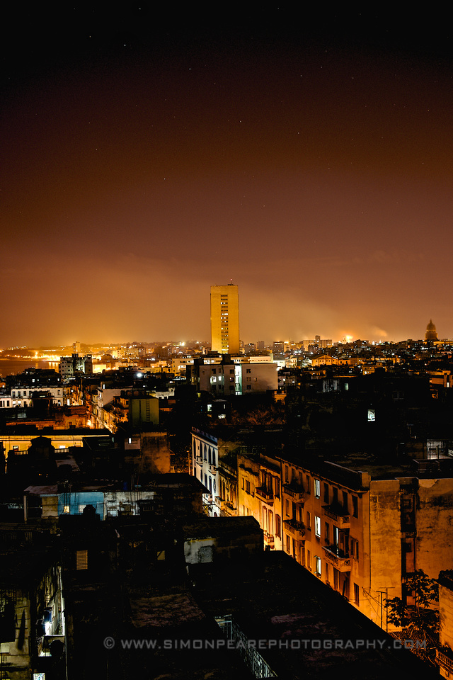 Fine Art Photograph and Print of Havana at Night, Cuba by Dublin Photographer Simon Peare